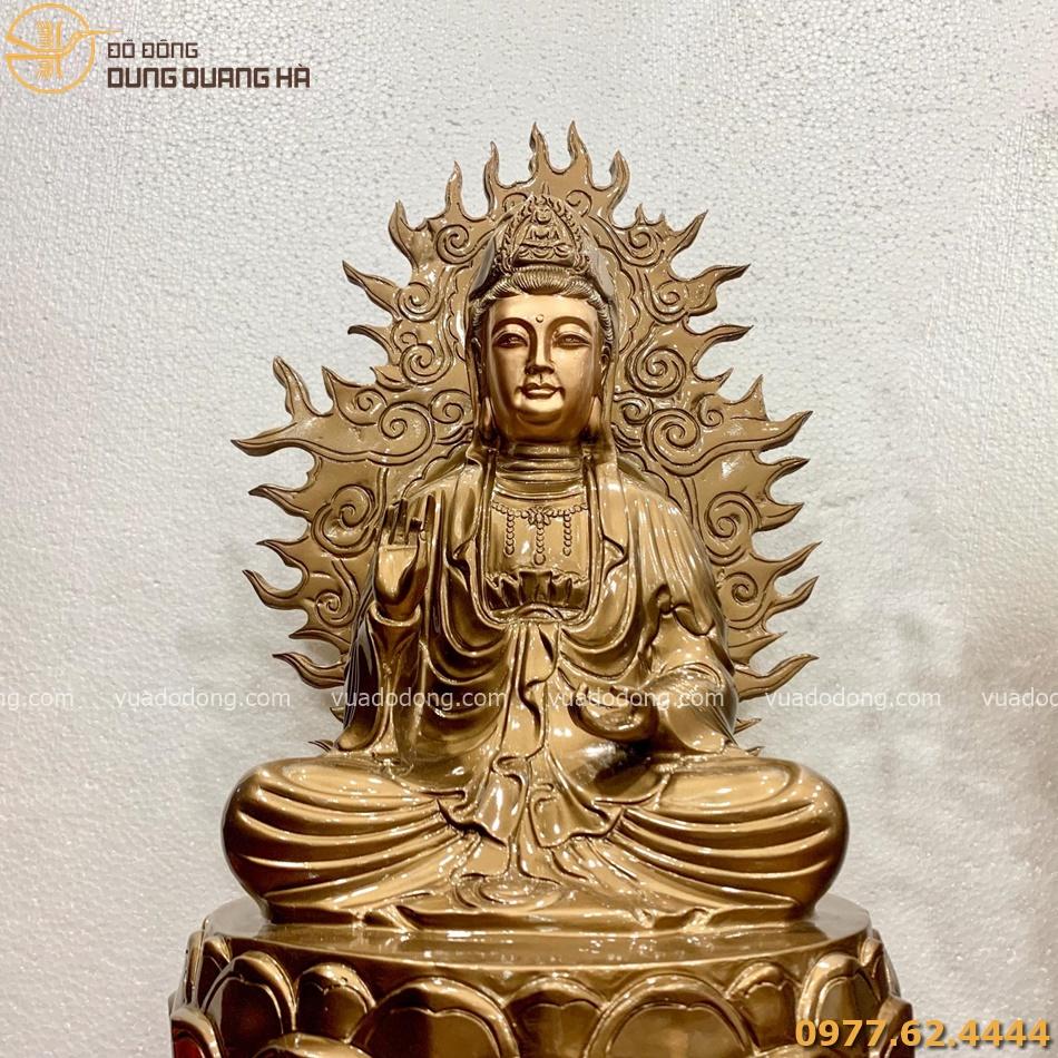 Tượng Tam Thánh Phật bằng đồng đỏ cao 60cm