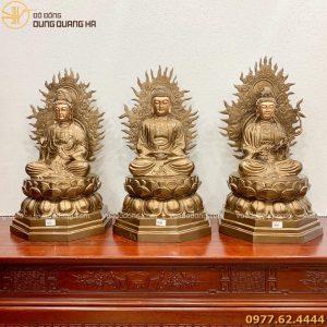 Tượng Tam Thánh Phật bằng đồng đỏ (2)
