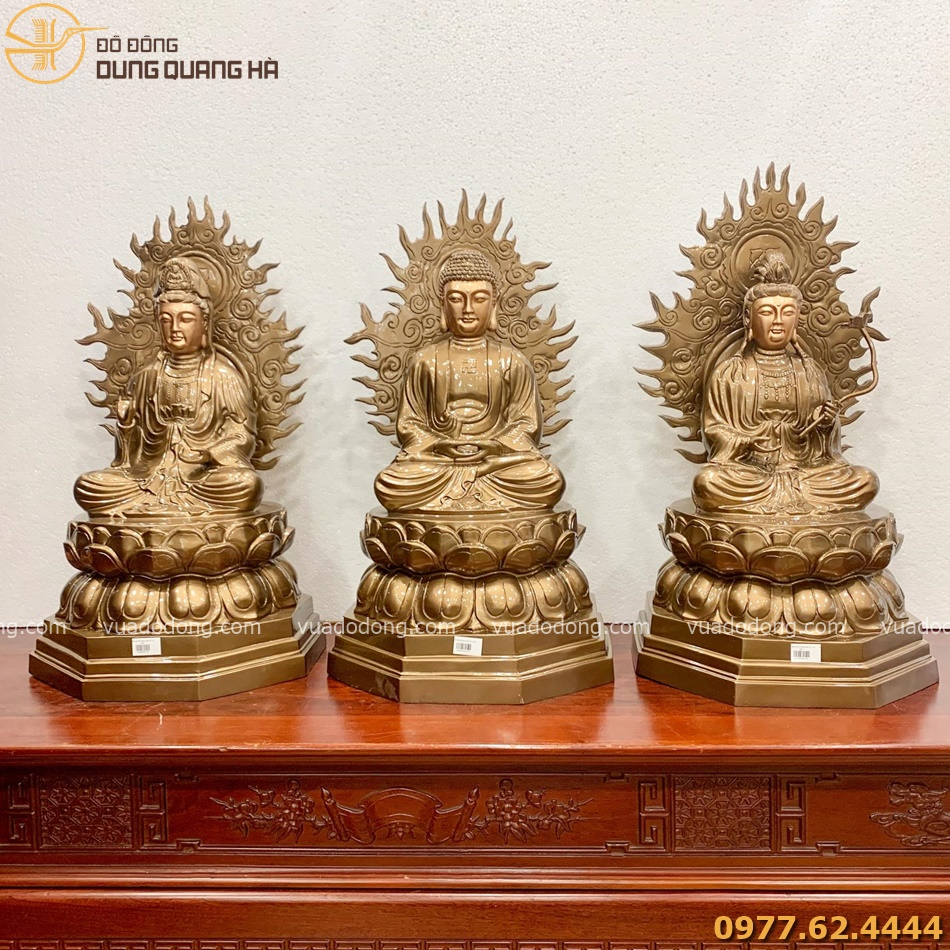 Tượng Tam Thánh Phật bằng đồng đỏ