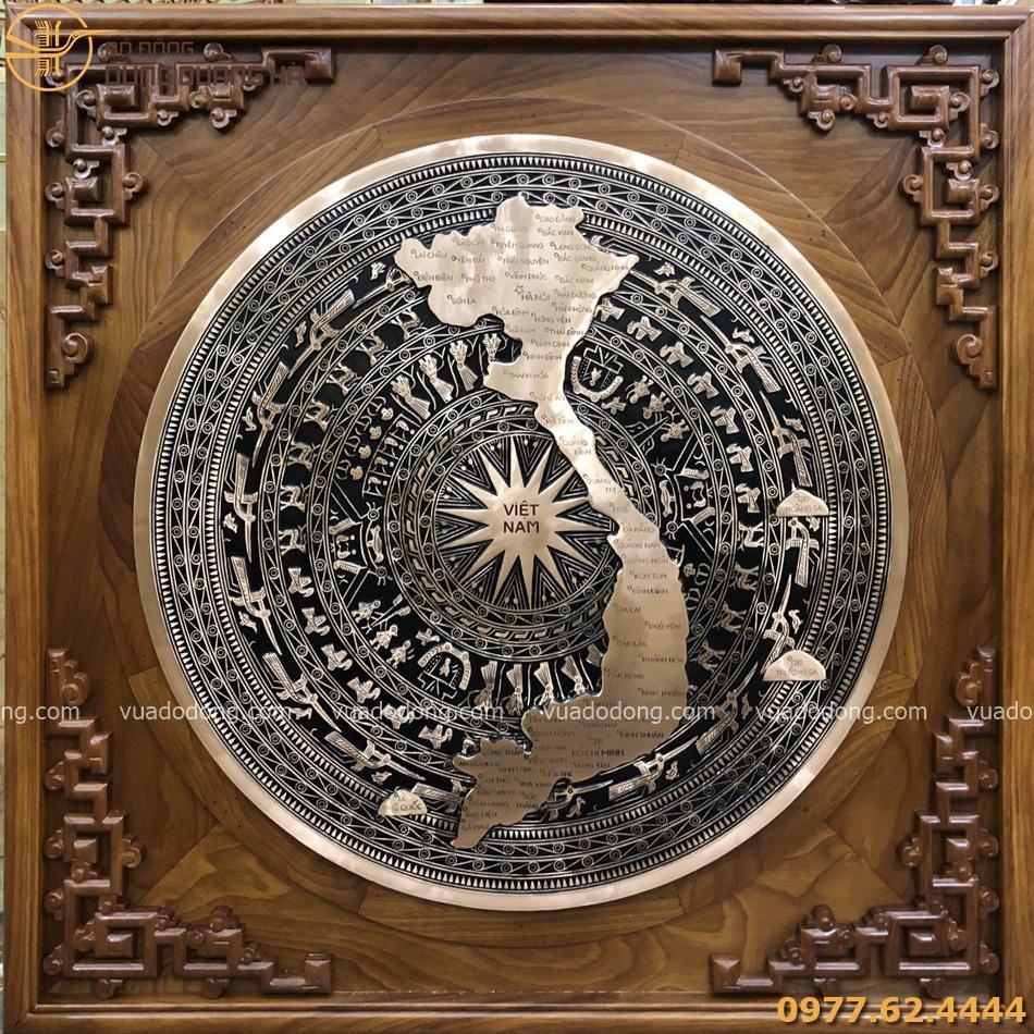 Mặt trống bản đồ đồng đỏ đường kính 60cm khung 88cm