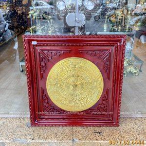 Tranh mặt trống đồng đỏ mạ vàng (1)