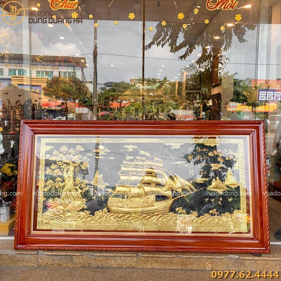 Tranh thuận buồm xuôi gió dát vàng khung gỗ hương 120cm x 230 cm