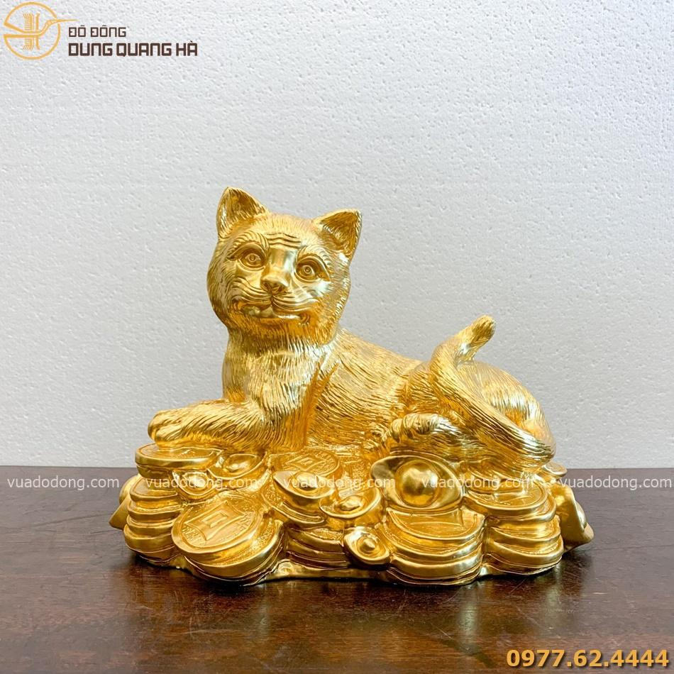 Tượng mèo đồng đỏ dát vàng cao 32cm
