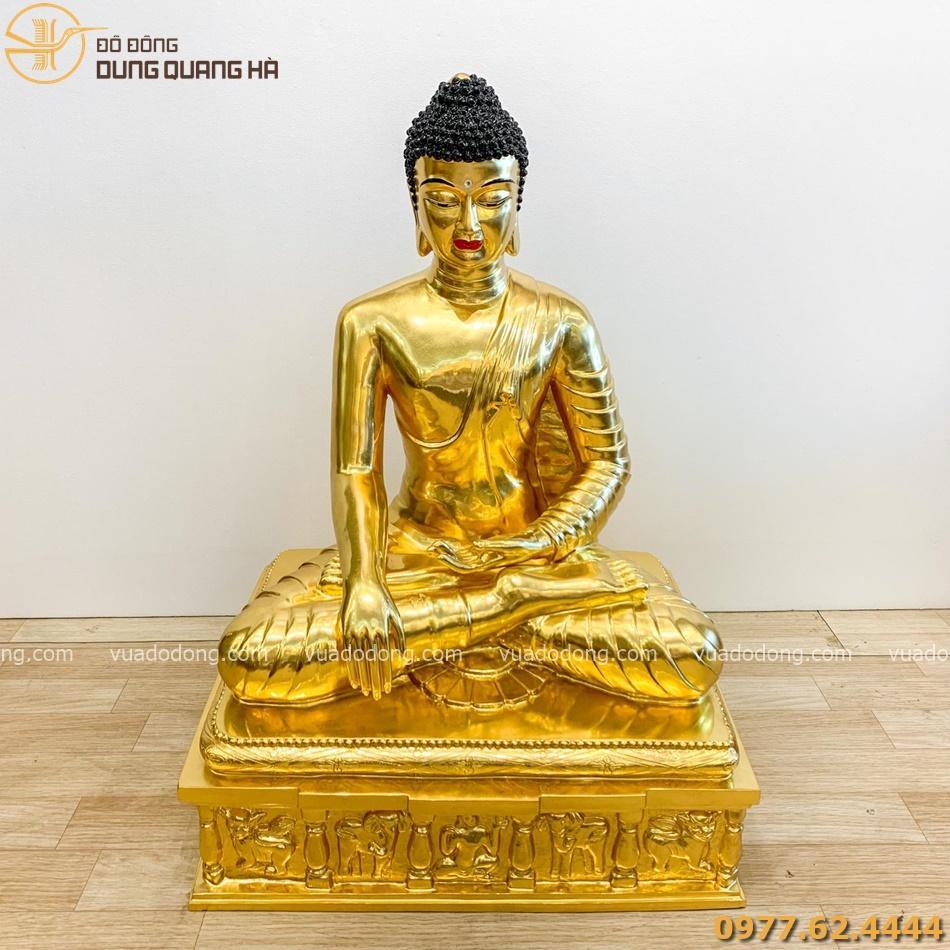 Tượng Phật Thích ca đồng đỏ dát vàng 90cm