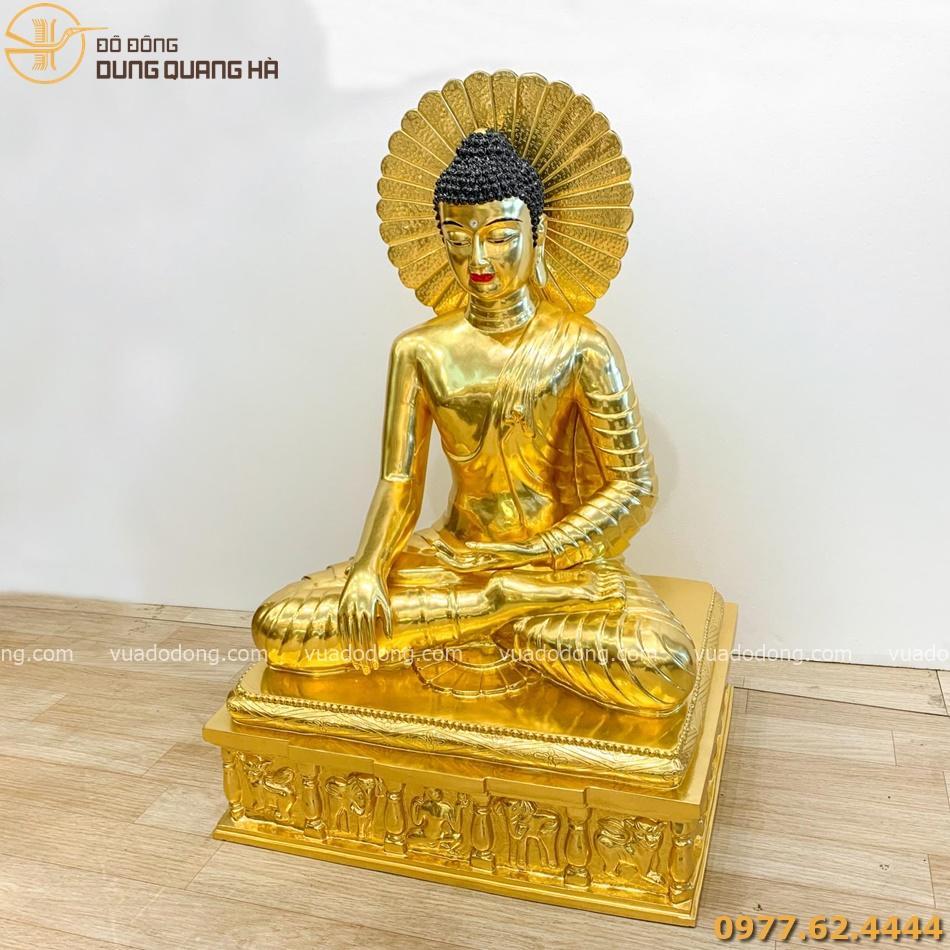 Tượng Phật Thích ca đồng đỏ dát vàng 90cm có liếc