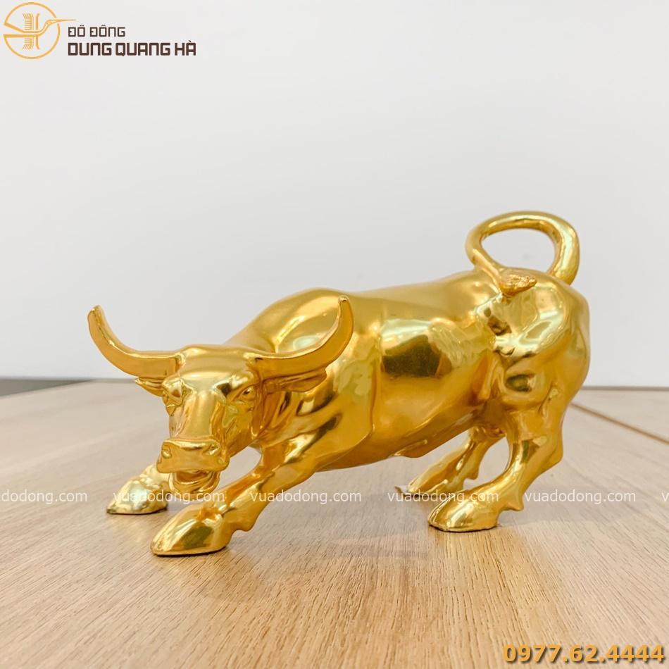 Tượng trâu mạ vàng 24k cao 18cm