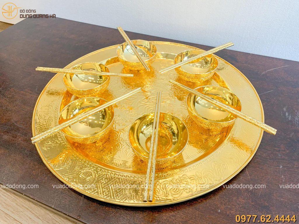 Bộ mâm bát đũa mạ vàng 9999 53cm