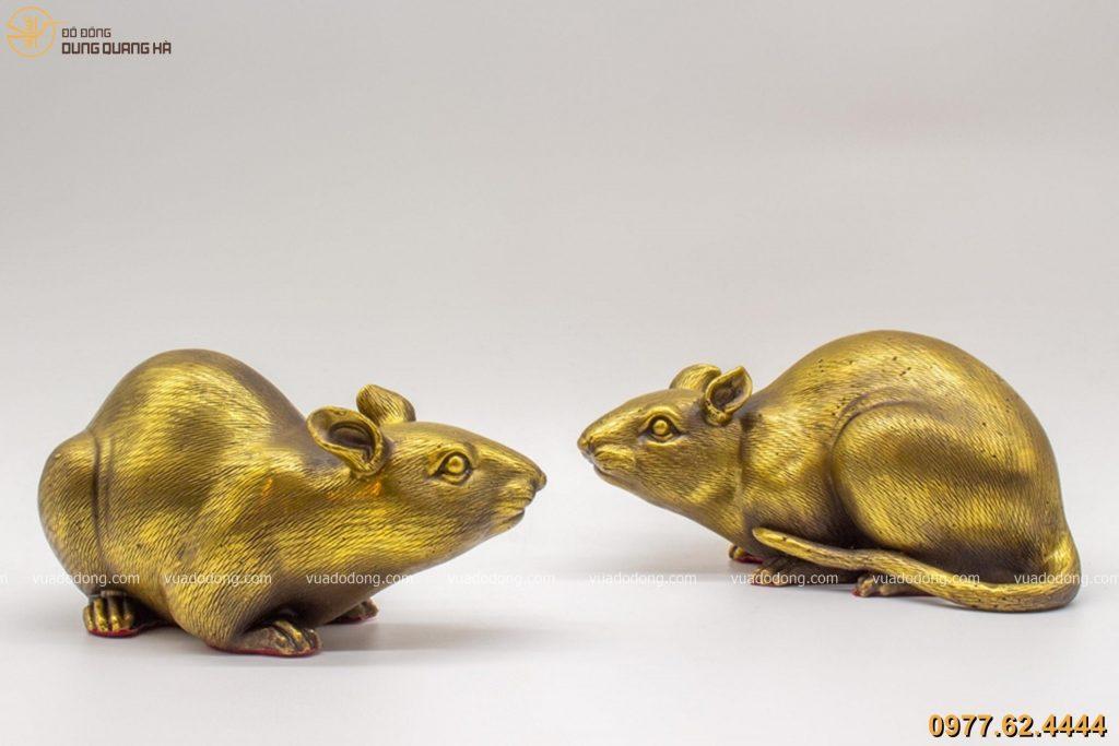 Tượng chuột bằng đồng vàng hun