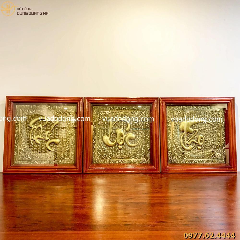 Bộ tranh chữ Phúc Lộc Thọ thúc nổi trên nền đồng vàng
