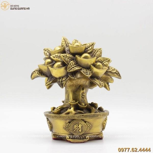 Cây tiền tài lộc bằng đồng vàng mộc 21cm