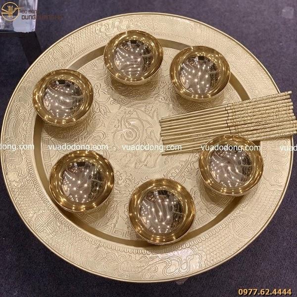Bộ mâm bát bằng đồng làm quà tặng cao cấp