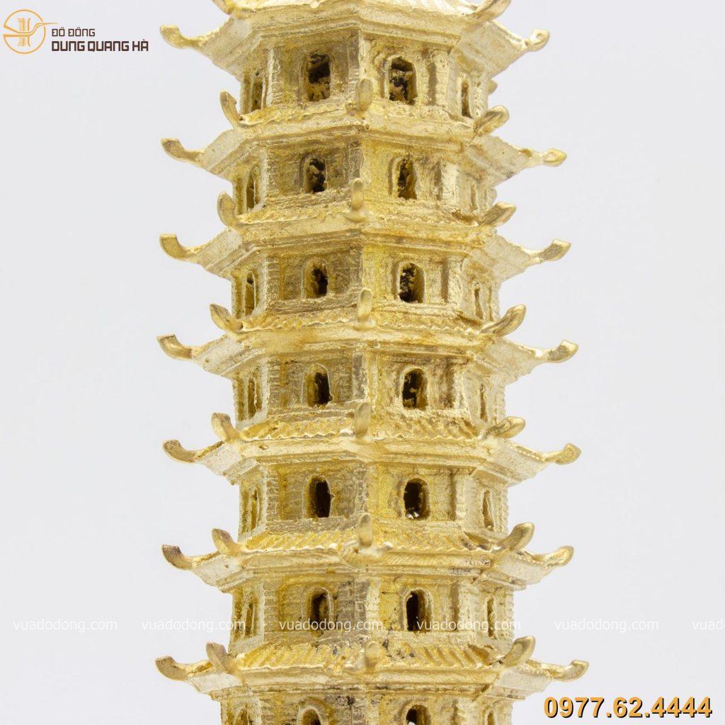 Tháp văn xương đồng vàng 30cm