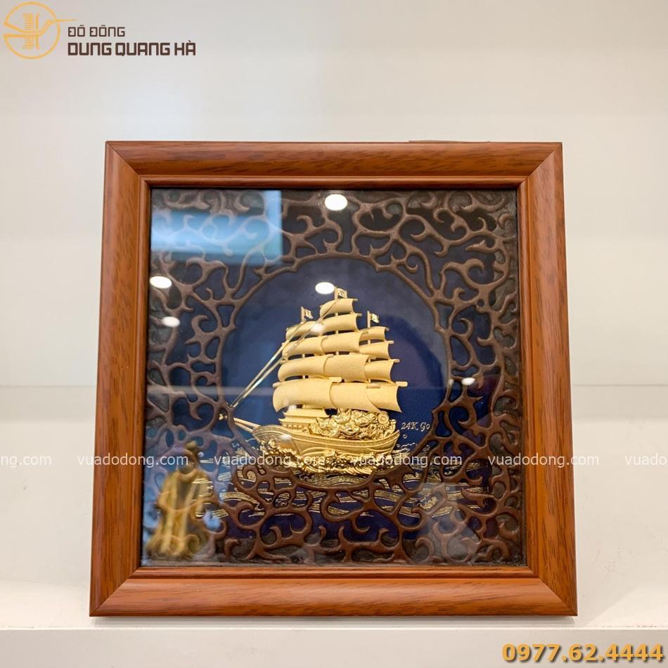 Tranh lưu niệm thuyền buồm mạ vàng sang trọng và tinh tế