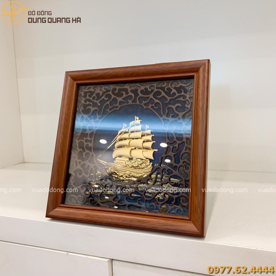 Tranh lưu niệm thuyền buồm mạ vàng tinh xảo