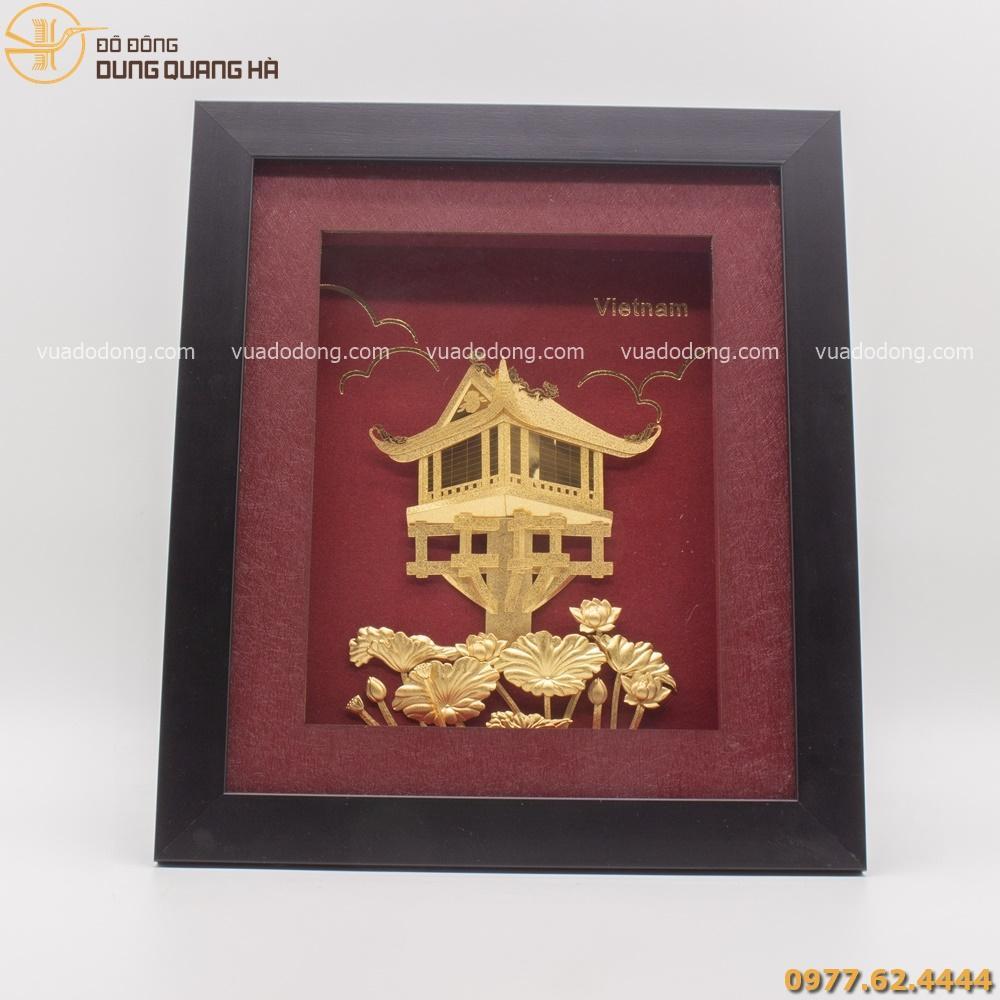 Tranh chùa một cột được mạ vàng dùng làm quà tặng