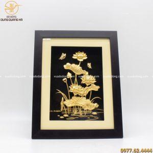 tranh hoa sen lưu niệm mạ vàng (1)