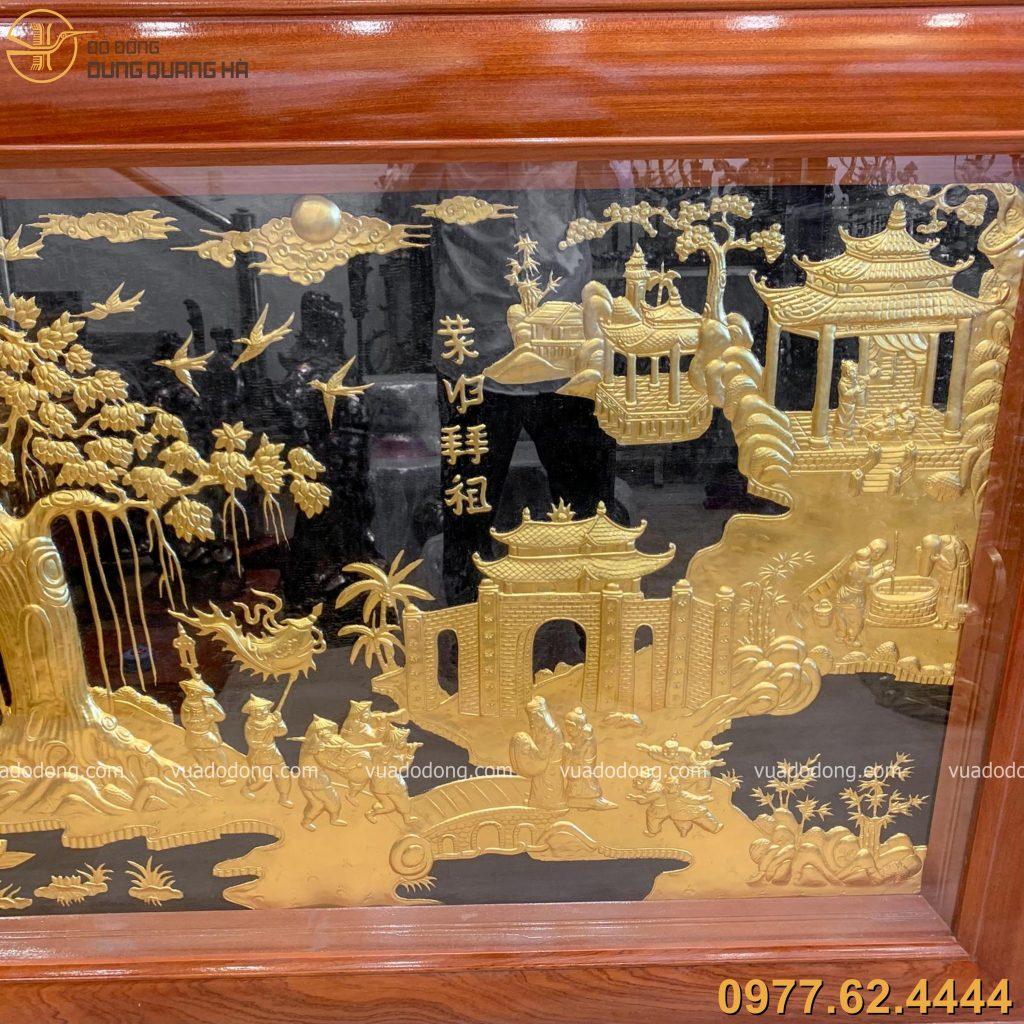 Tranh vinh quy bái tổ bằng đồng dát vàng với các chi tiết tinh tế
