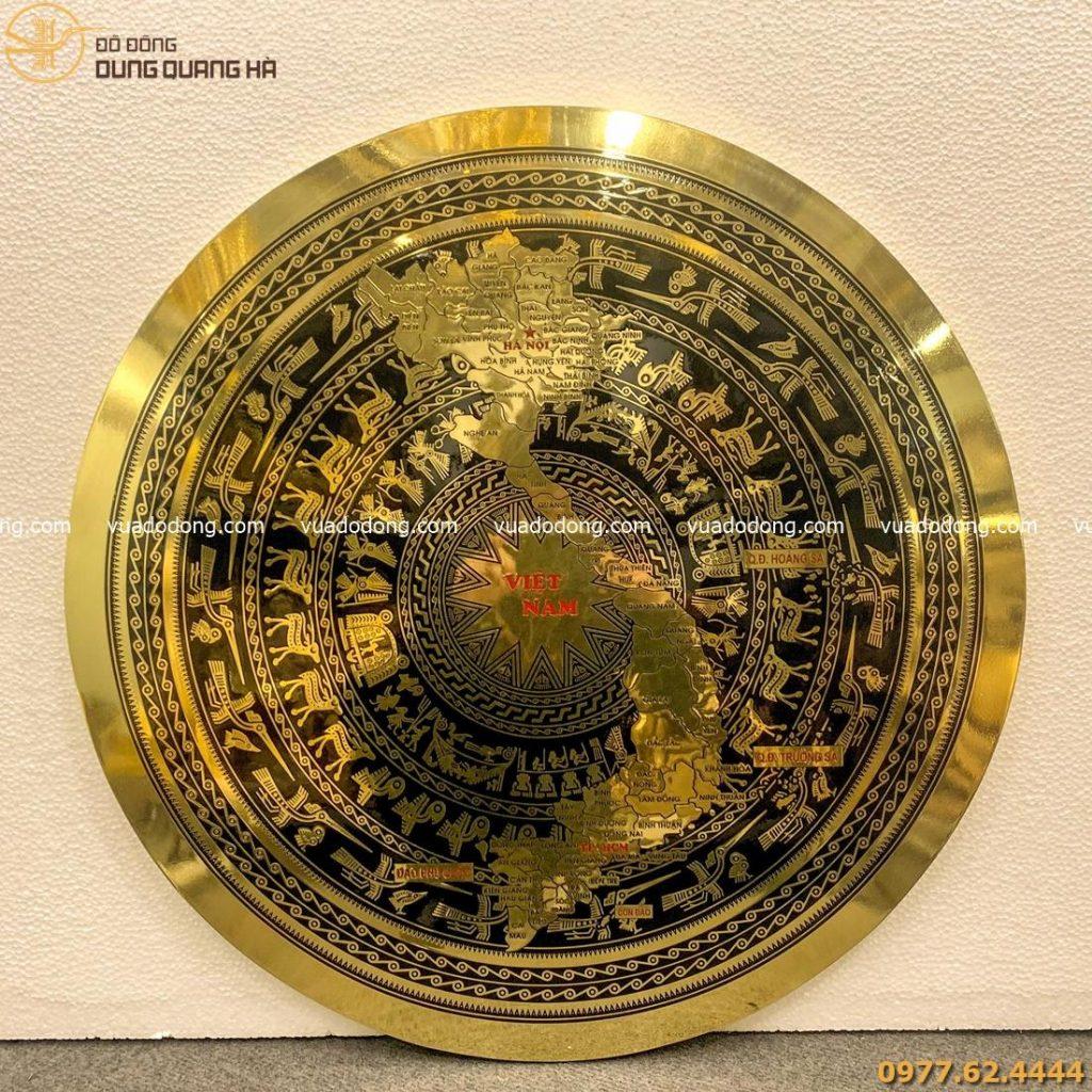 Mặt trống đồng vàng bản đồ Việt Nam đúc bằng công nghệ CNC