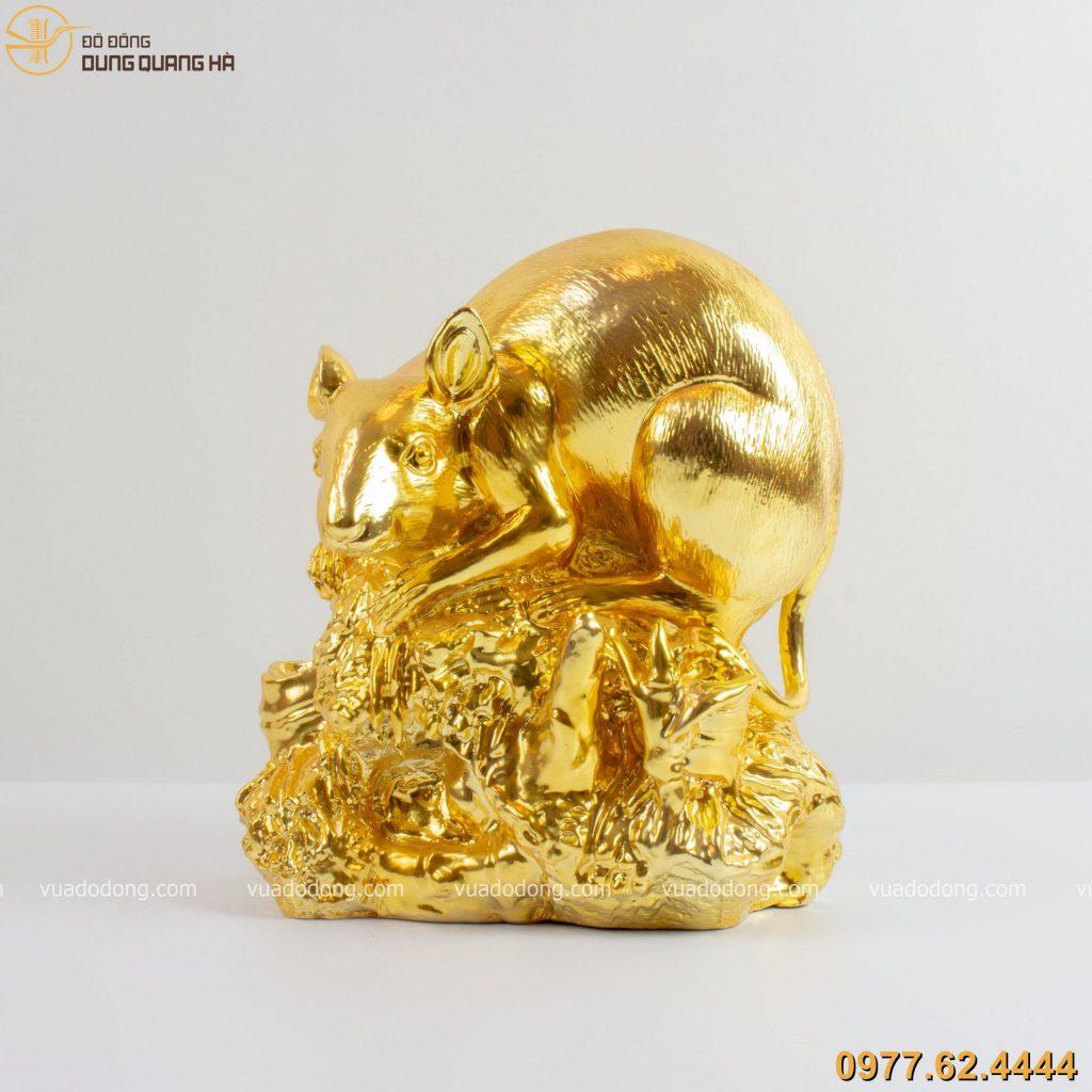Tượng Chuột Đứng Trên Mỏm Đá dát vàng 9999