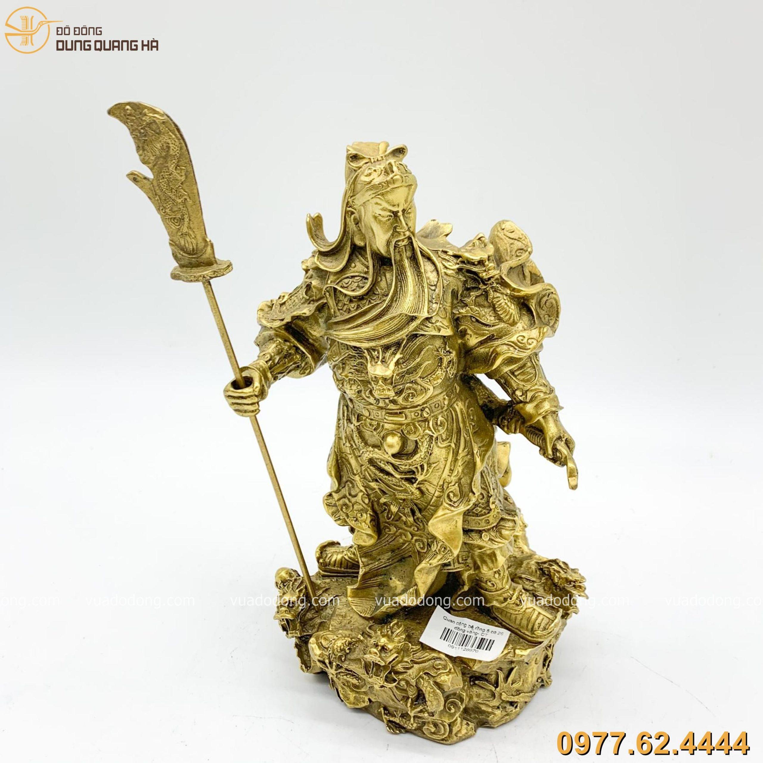 Tượng Quan Công đứng trên bệ rồng bằng đồng vàng cao 26cm