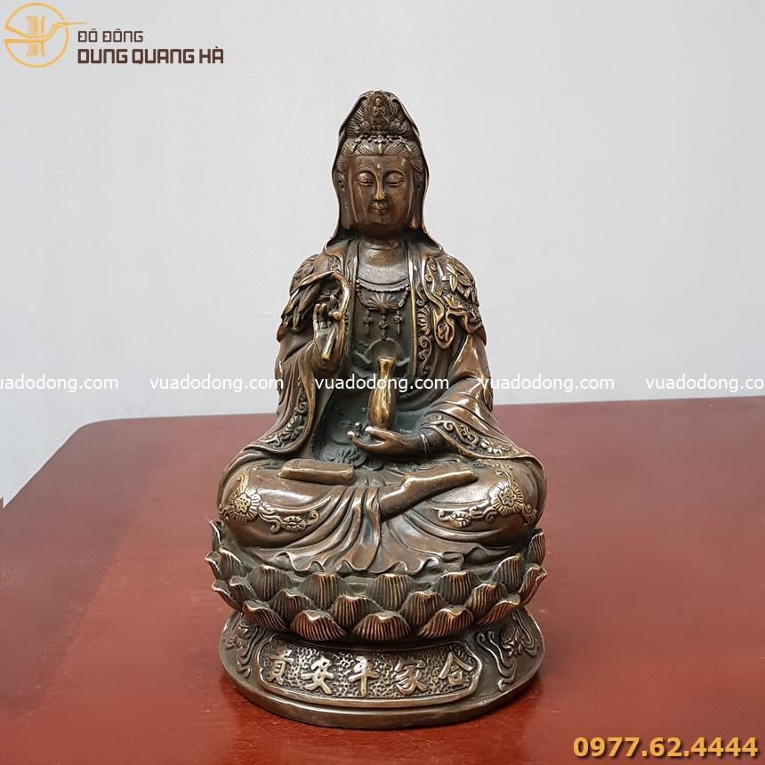 Tượng Phật Quan Âm bằng đồng vàng hun
