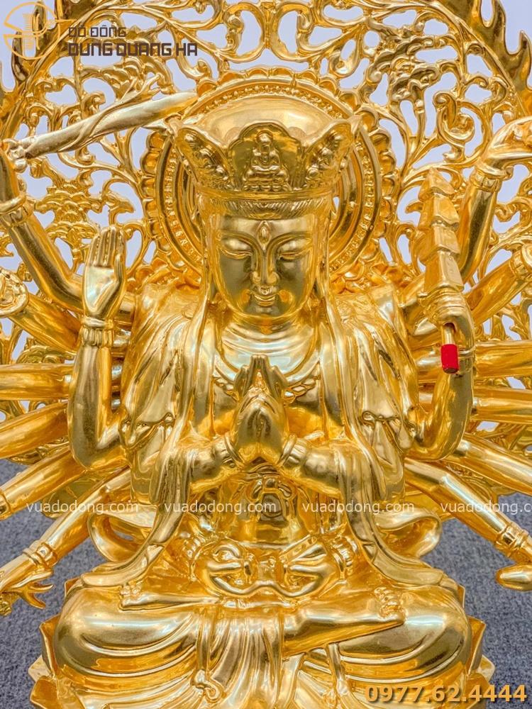 Tượng phật Chuẩn Đề dát vàng 30cm (cả liếc 40cm)