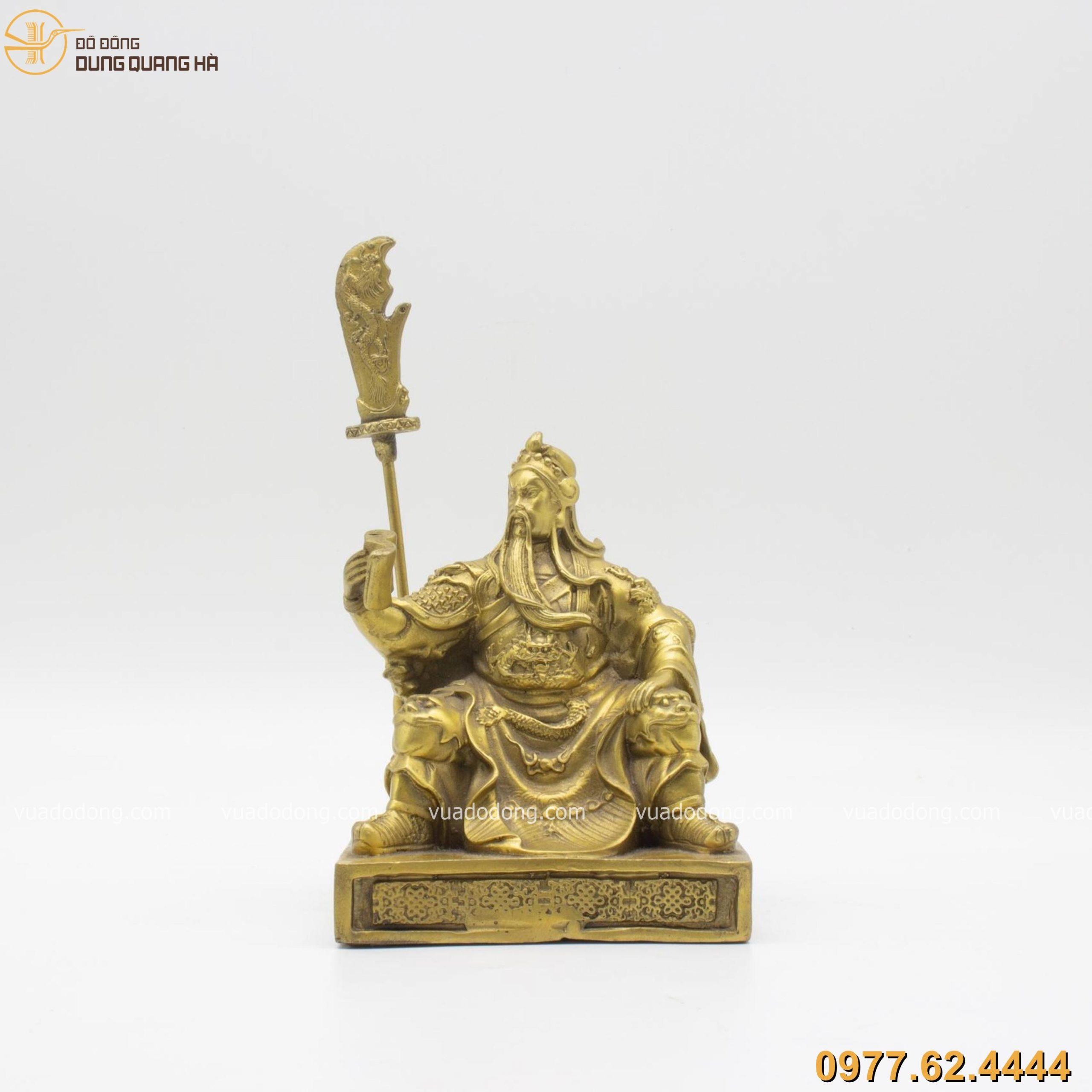 Tượng Quan Vân Trường ngồi đọc sách bằng đồng vàng 15cm ( cả đao 23cm)