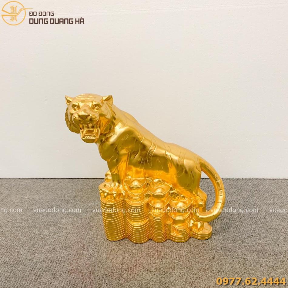 Tượng hổ dát vàng 28cm