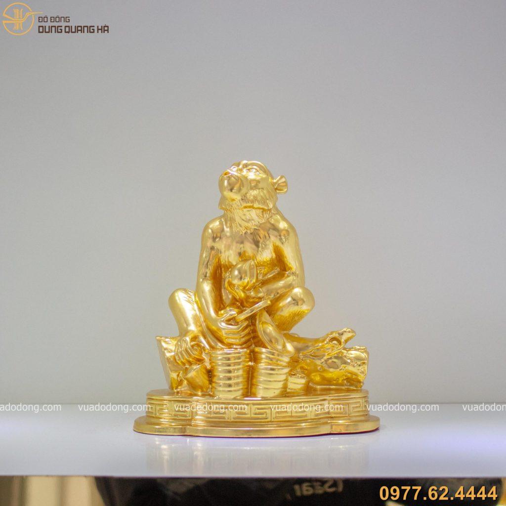 Tượng Khỉ Ôm Tài Lộc dát vàng 9999