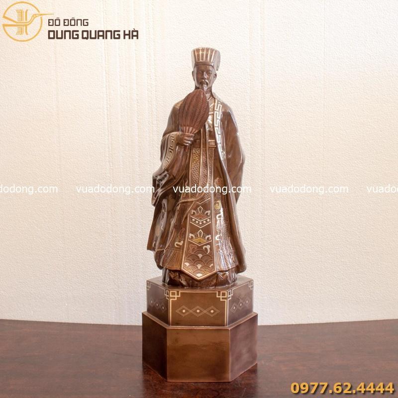 Tượng Khổng Minh - Gia Cát Lượng bằng đồng đỏ khảm tam khí