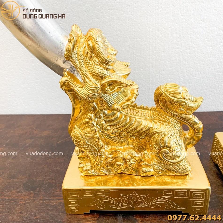 Tượng nghê ngà voi bằng đồng đỏ dát vàng đẳng cấp