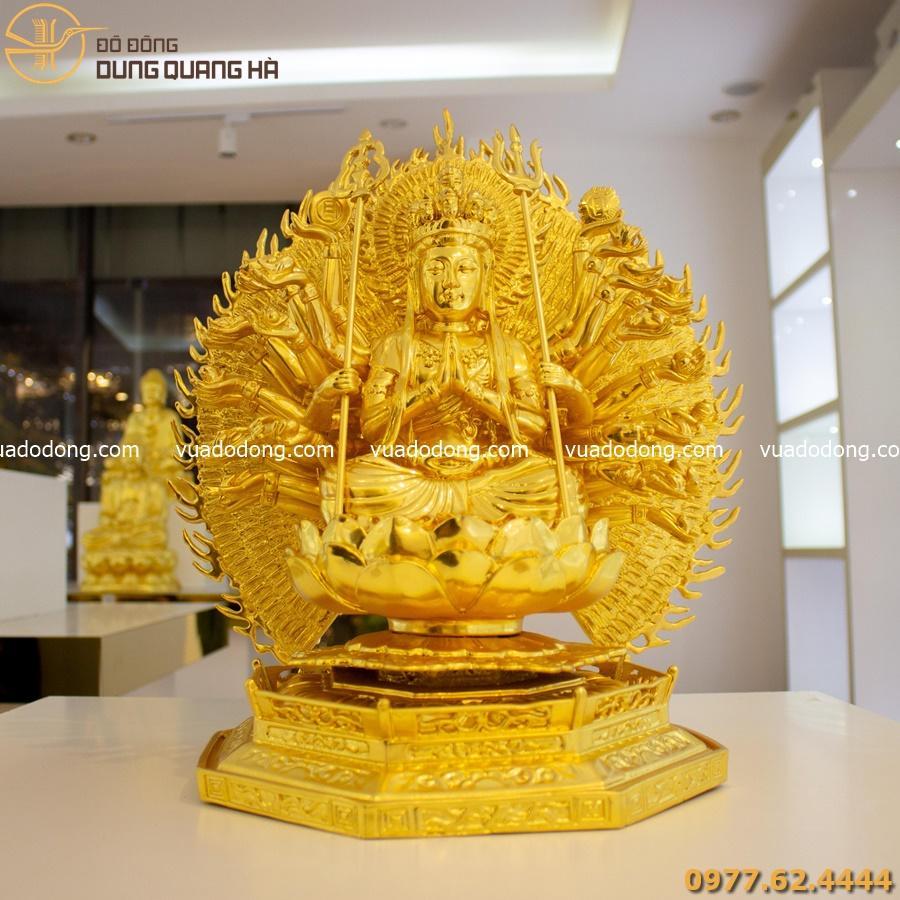 Tượng Phật Thiên Thủ Thiên Nhãn thếp vàng tinh xảo
