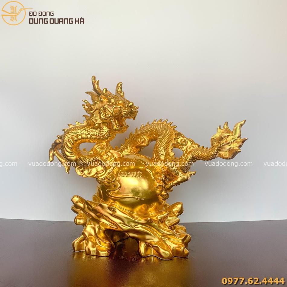 Tượng Rồng phong thủy thếp vàng 9999
