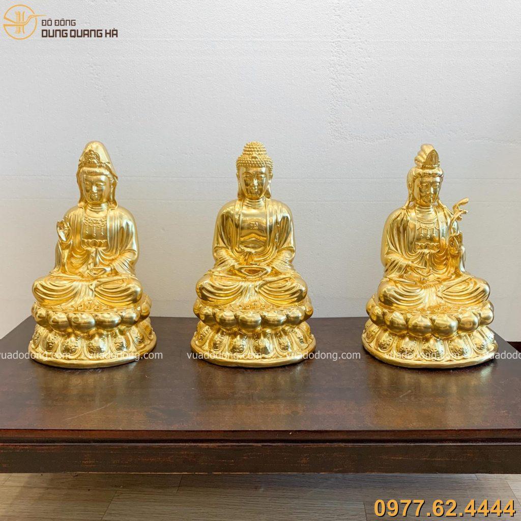 Tượng Tam thánh Phật dát vàng 47cm