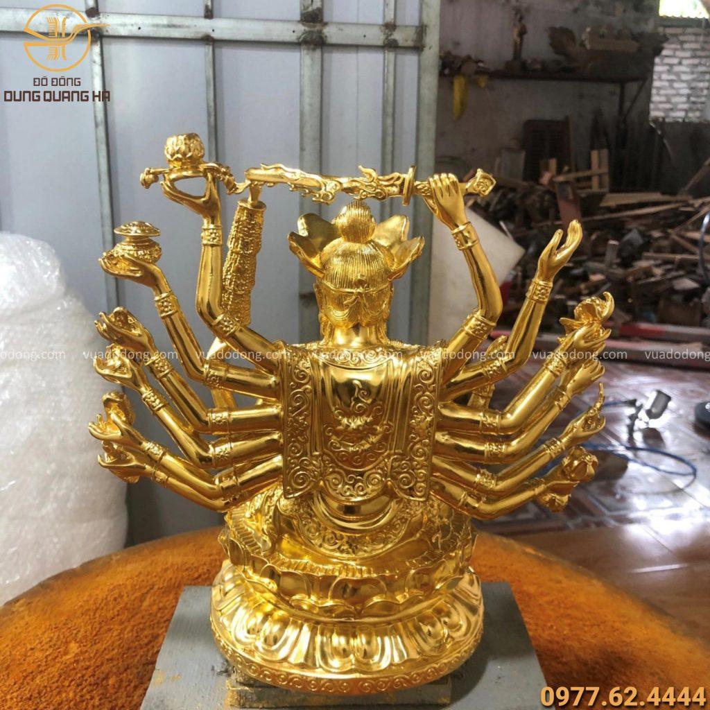 Tượng phật chuẩn đề thếp vàng độc đáo