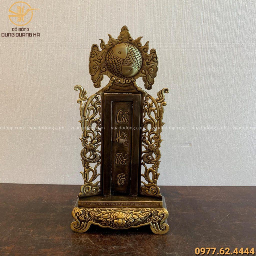 Bài vị cửu huyền thất tổ cao 44cm bằng đồng vàng hun