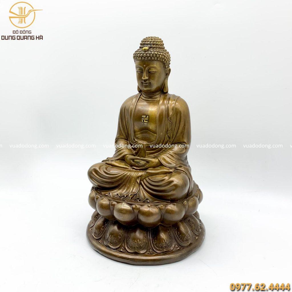 Tượng Phật A Di Đà bằng đồng vàng giả cổ cao 30cm