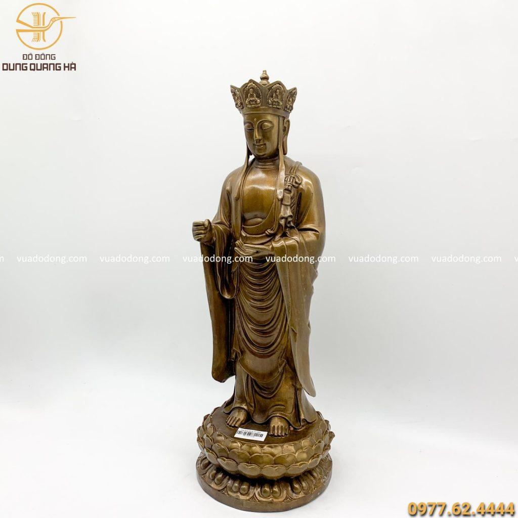 Tượng Phật Địa Tạng đứng giả cổ cao 47cm