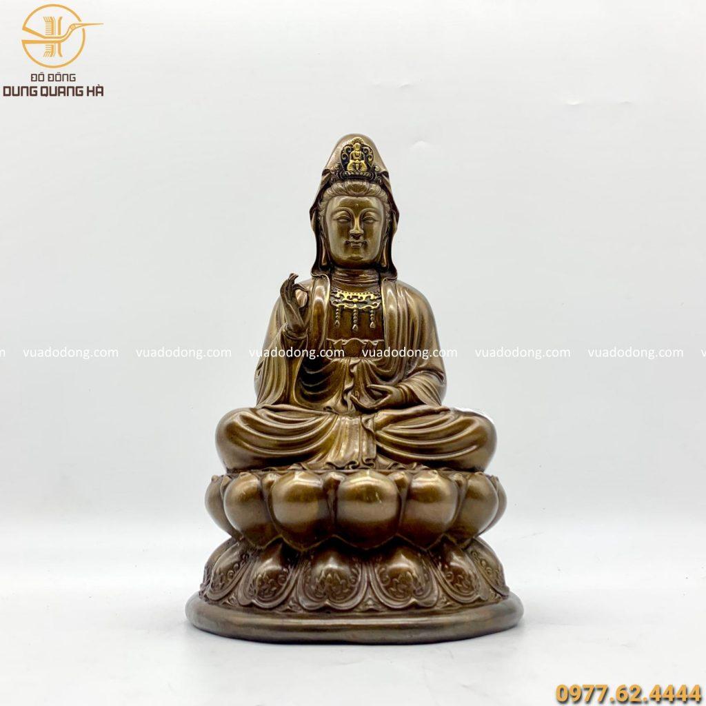 Tượng Phật Quan Thế Âm giả cổ 30cm