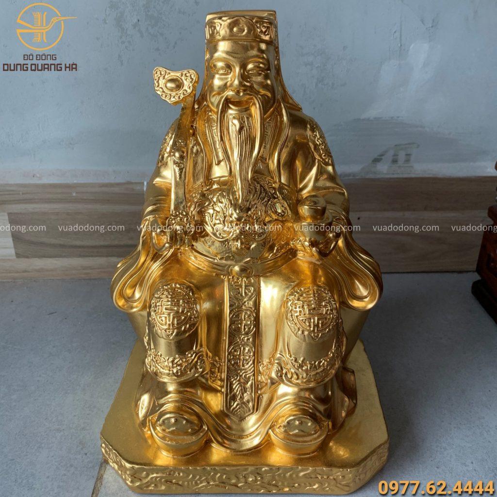 Tượng thần tài thổ địa cao 27cm thếp vàng 9999