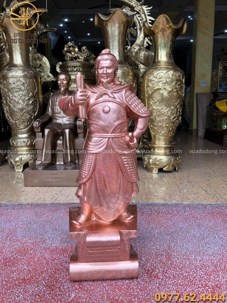 Tượng Trần Hưng đạo cao 90 cm bằng đồng đỏ mộc