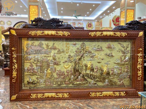 Tranh vinh quy bái tổ tam khí thếp vàng 9999 khung gỗ gụ kích thước 2m3 x 1m2