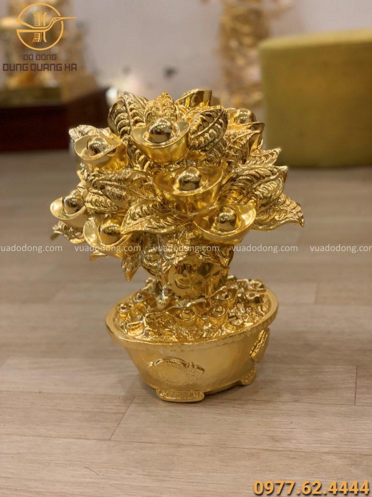 Cây tiền đặt bàn thờ thần tài cao 35cm mạ vàng 24k