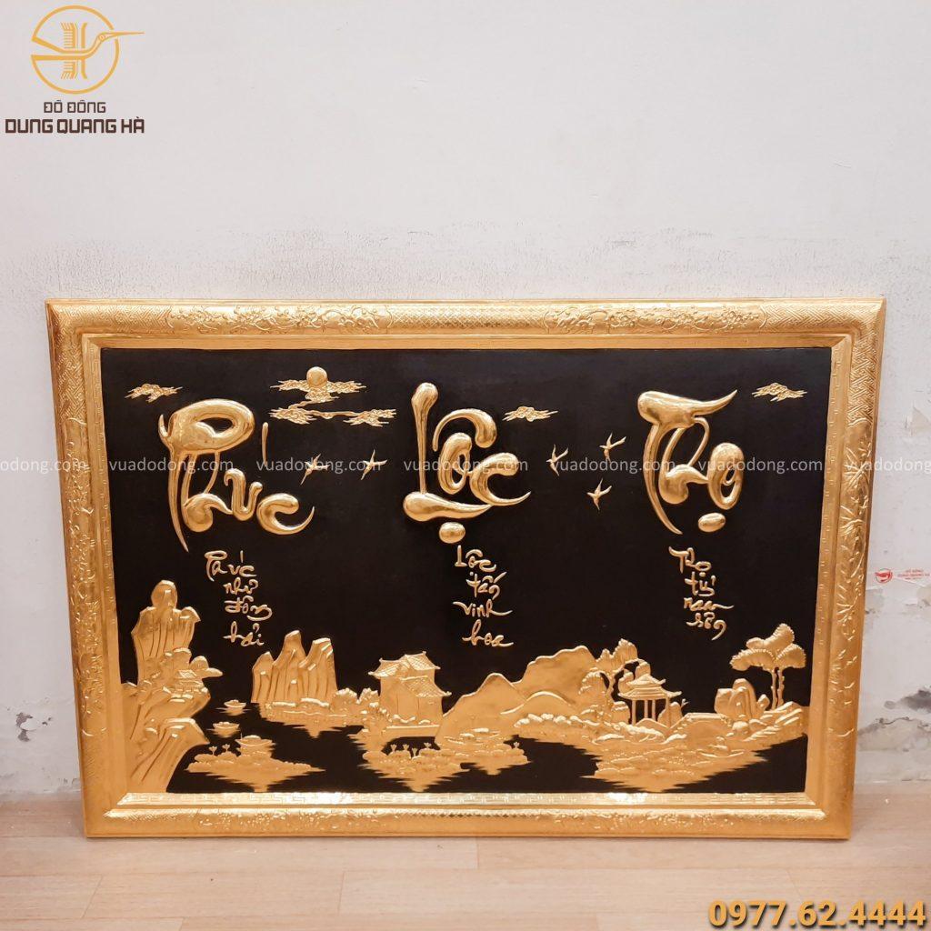 Tranh Phúc Lộc Thọ khung liền đồng dát vàng 127x88cm