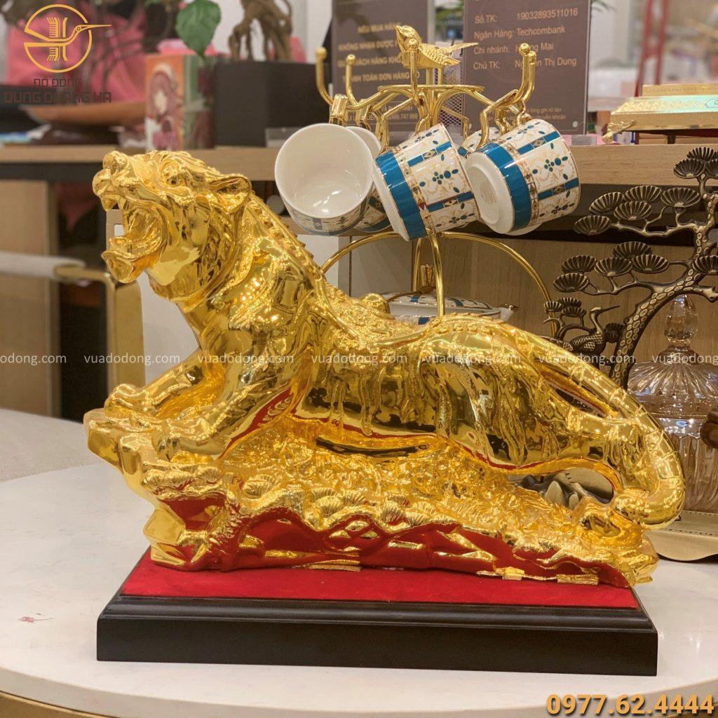Tượng hổ ngang mạ vàng 35cm