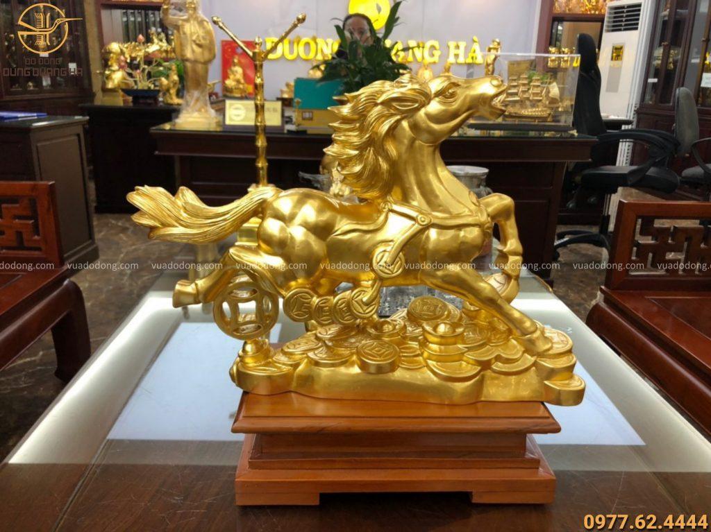 Tượng ngựa ngang 30cm bằng đồng đỏ thếp vàng 9999