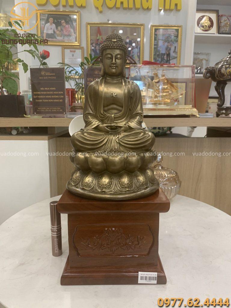 Tượng phật Adida cao 30cm bằng đồng vàng hun giả cổ