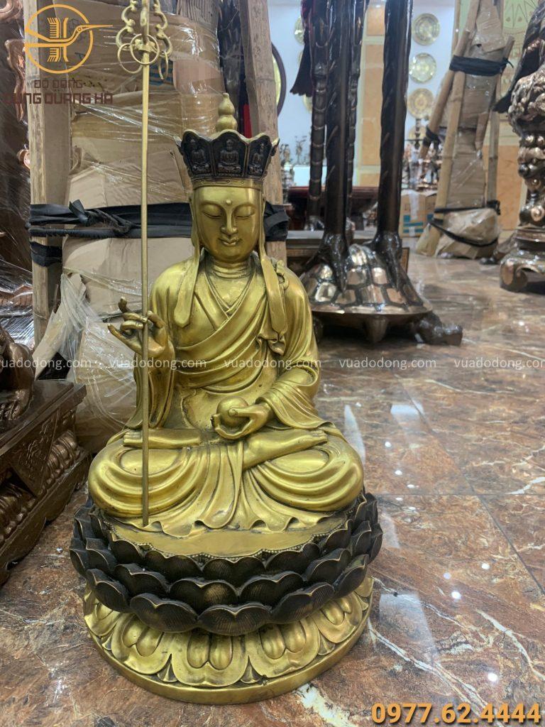 Tượng Phật Địa Tạng bằng đồng vàng cao 47cm