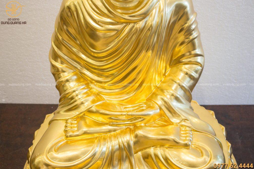 Tượng phật Thích Ca đồng đỏ dát vàng 9999 cao 70cm