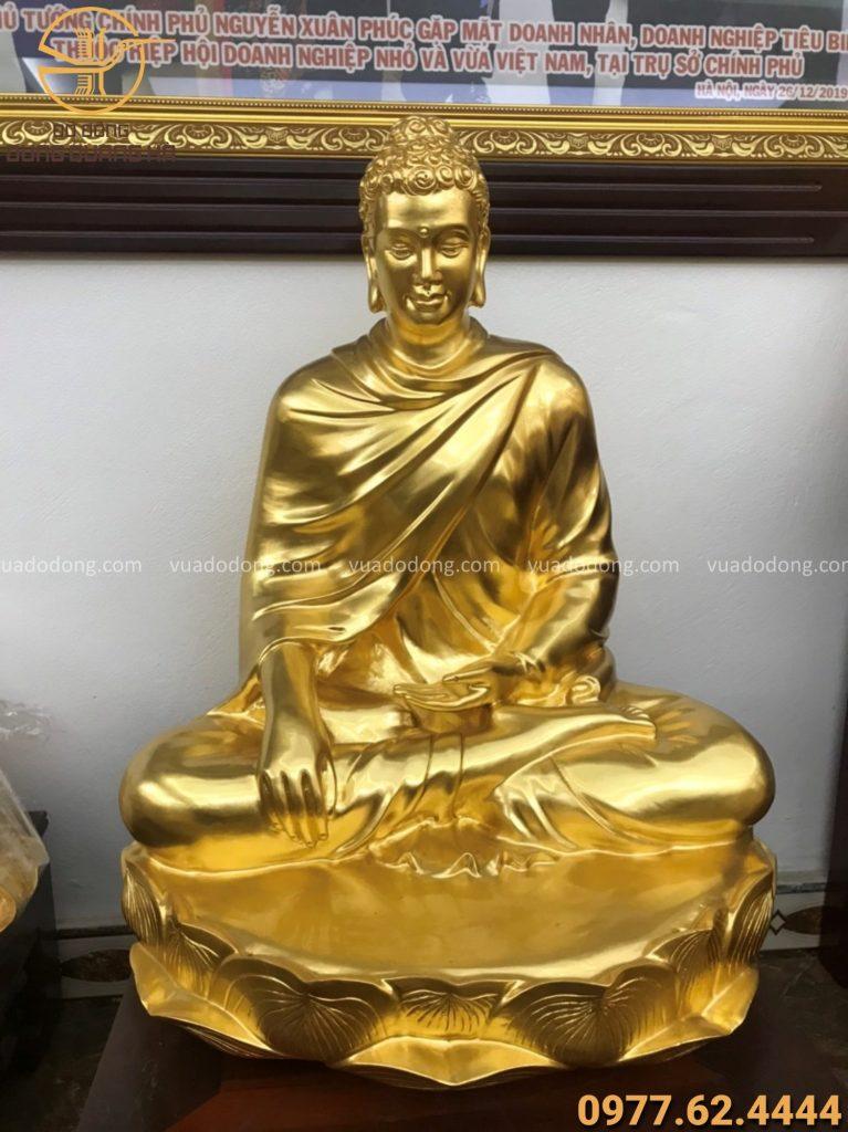 Tượng Phật Thích Ca thếp vàng 9999 cao 60cm